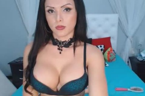 naughty Breasty sheboy Plays Her Hard penis