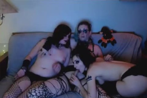 concupiscent Goth trannies Do A naughty three-some