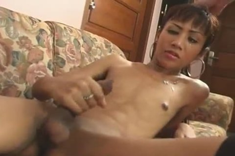 asian ladyman In lingerie acquires To Ride young White knob On The Sofa