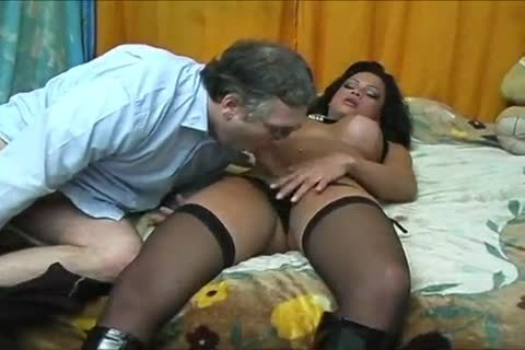 concupiscent Ladyboy In stockings Cums All Over Herself  After fucking