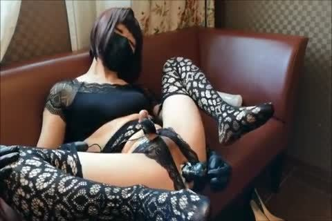 Squirting asian Ladyboy In stockings