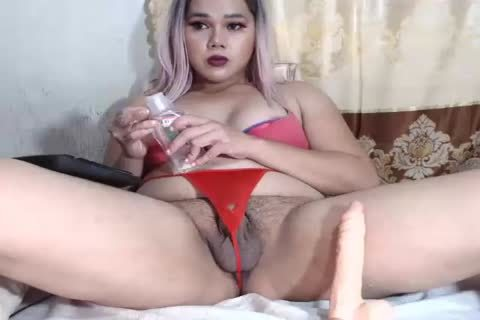 lusty chubby Ladyboy Jerks Off And dildos Her wazoo