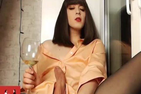 Russian young Trans Lady Vivian In sleazy underware Teasing Her large ramrod On web camera
