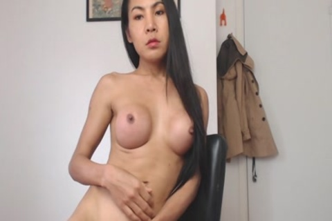 Solo tranny non-professional With large zeppelins Masturbating