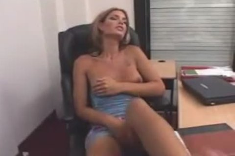 TS Lady Masturbating With sextoy At The Office